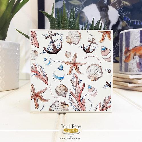 'Nautical White' Hand Crafted Coaster
