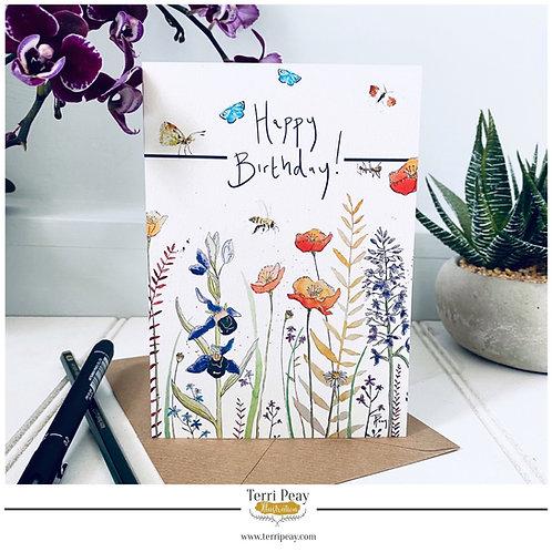 'Happy Birthday- Wild Flowers' Card