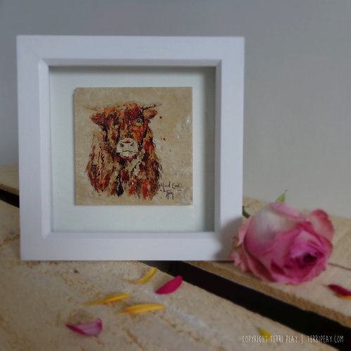Framed 'Highland Cow' Tile