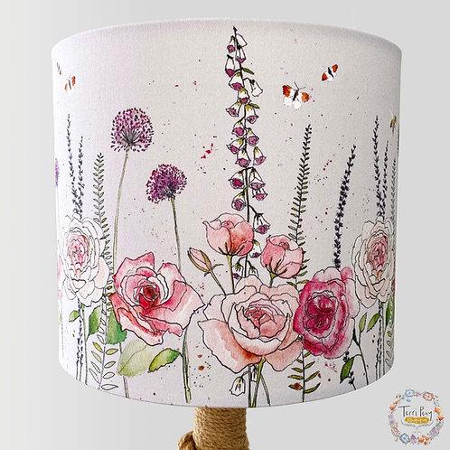 'Rose Garden' Lampshade - Light Grey