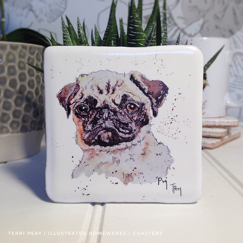 Hand Crafted 'Pug' Coaster