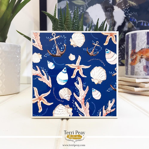 'Nautical Navy' Hand Crafted Coaster
