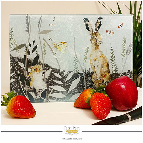 'Hare and Harvest Mouse' Chopping Board