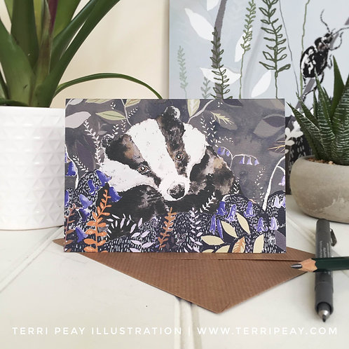 'Woodland Badger' Card