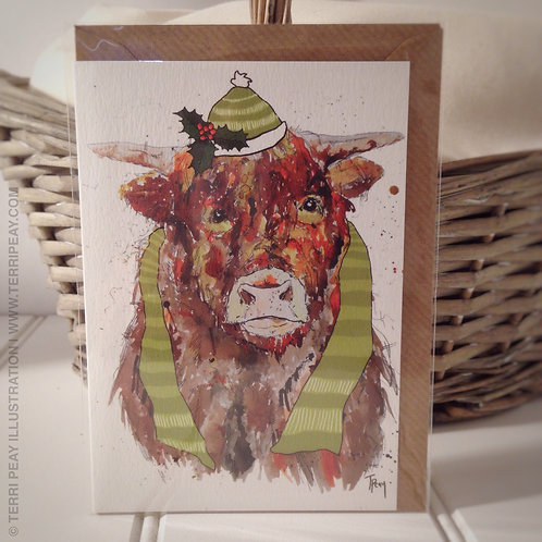 'Winter Highland Cow' Card