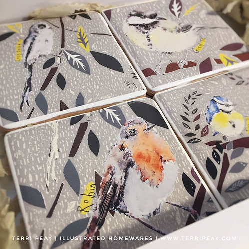 Hand Crafted 'British Birds' Set of 4