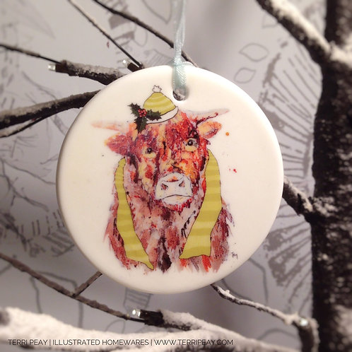'Winter Highland Cow' Decoration
