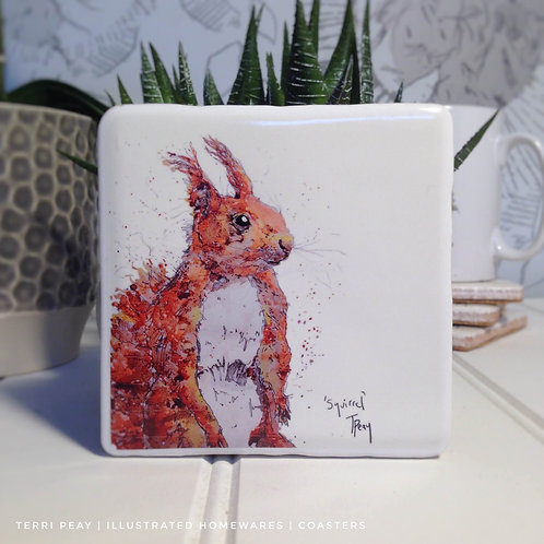Hand Crafted 'Red Squirrel' Coaster