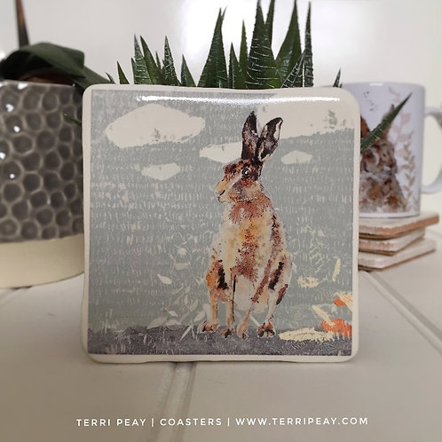 'Hare Watching Sunrise' Coaster
