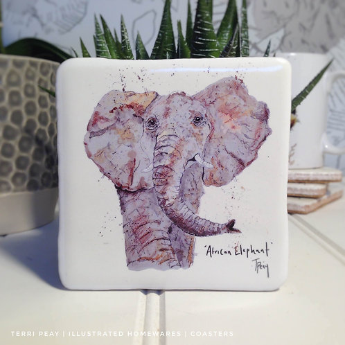 Hand Crafted 'African Elephant' Coaster