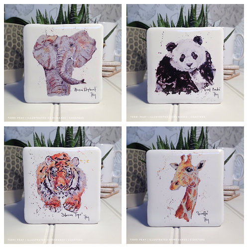 Hand Crafted 'Wild Coasters' Set of 4