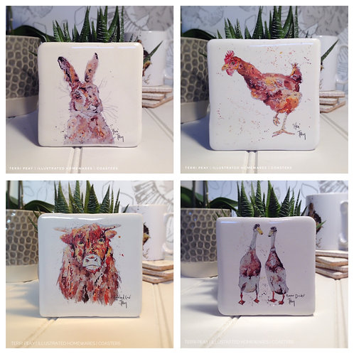 Hand Crafted 'Country Coasters' Set of 4