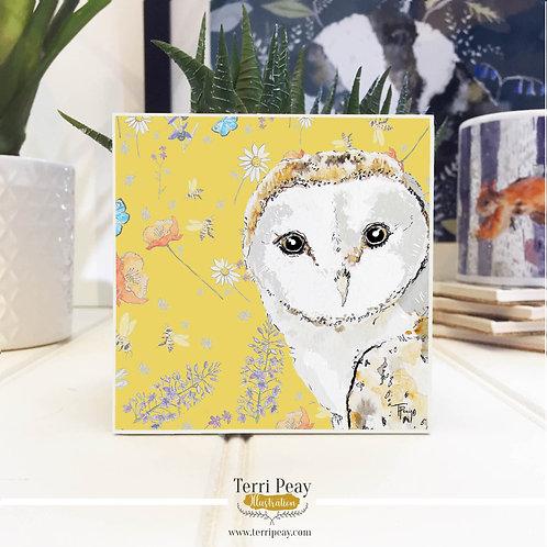 'Wild Barn Owl' Hand Crafted Coaster