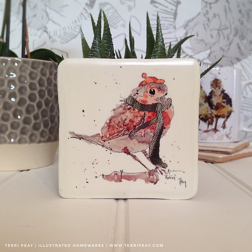 Hand Crafted 'Winter Robin' Coaster