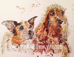 'Collie and Spaniel' By Terri Peay