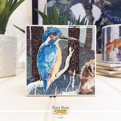 'Perching Kingfisher' Coaster