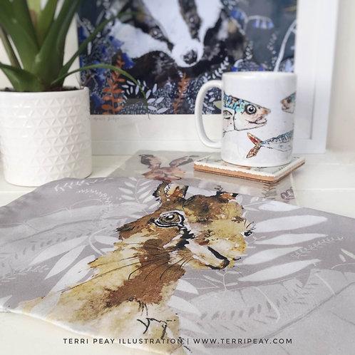 'Gazing Hare' Tea Towel