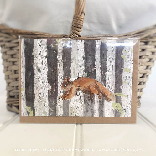'Leaping Squirrel' Card