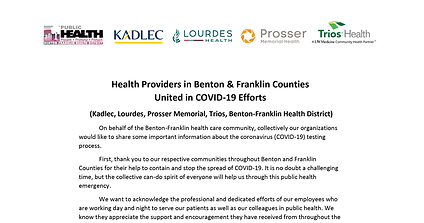 Health Providers in Benton & Franklin Counties United in COVID-19 Efforts