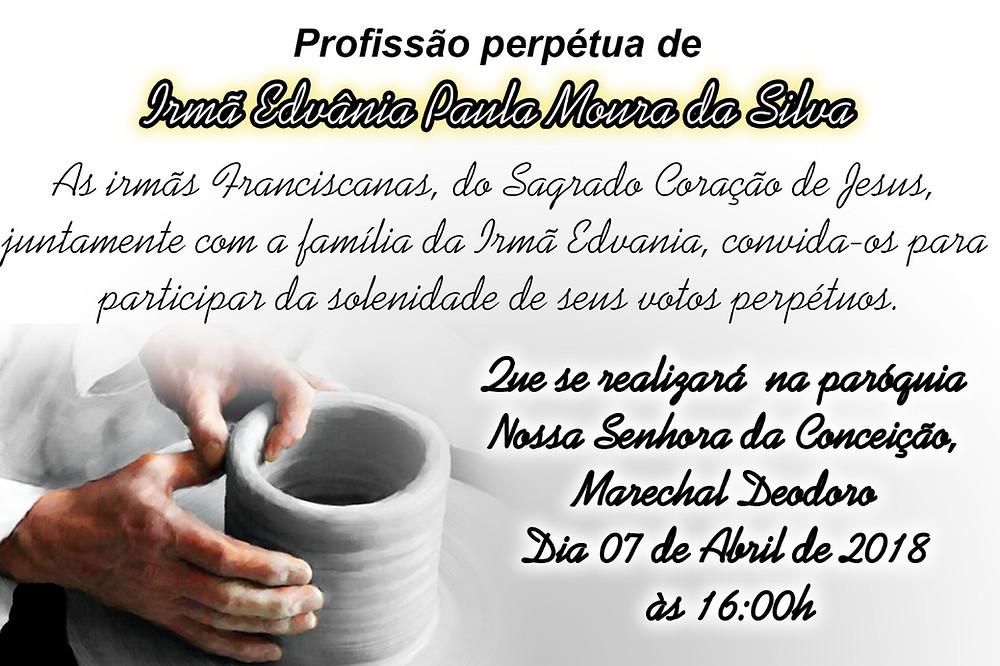 Convite para Profissão Perpétua de Ir. Edvânia