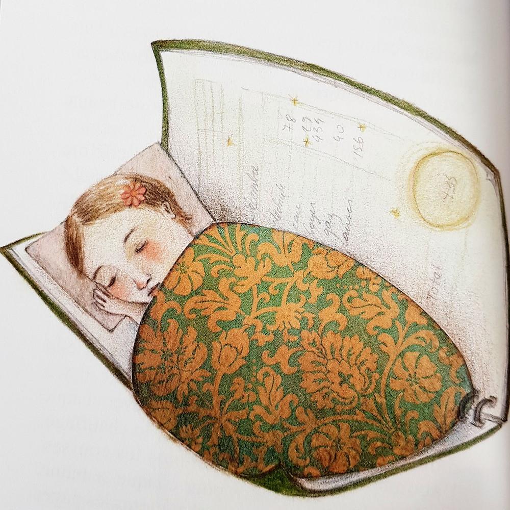 Le carnet vert, où Solène est représentée, contient tous les frais du foyer, tenu minutieusement à jour par sa mère.