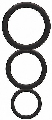 Set de 3 cockrings noirs en silicone