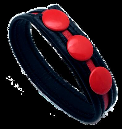 Cockring Cuir Noir et rouge