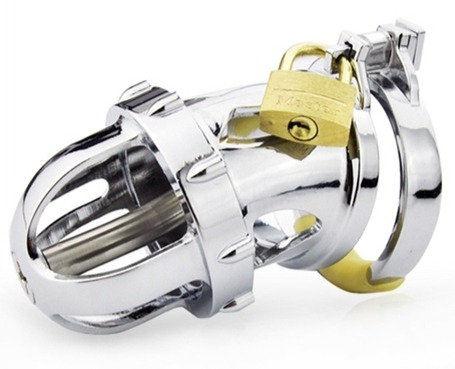 Cage de chasteté avec Tige d'urètre Titan 7 x 3.4 cm - Tige 4.5  cm