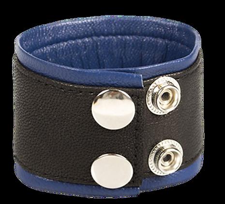 Bracelet de Force en Cuir 5cm Noir-Bleu