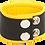 Thumbnail: Bracelet de force en cuir 5cm Noir-Jaune