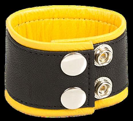 Bracelet de force en cuir 5cm Noir-Jaune