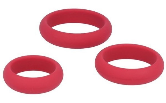 Cockrings en silicone Rouge x3