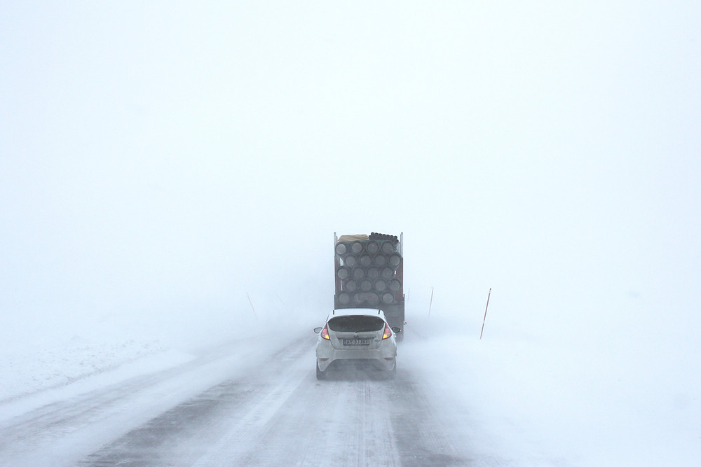 winter driving down highway