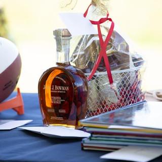 Autographed football and Bourbon Basket