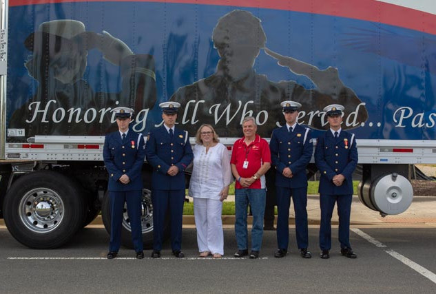 """USCG Honor Guard with """"Giant"""" truck"""