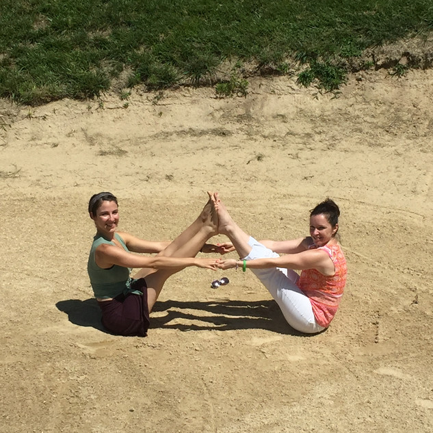 Yes. Yoga. In the sandtrap.