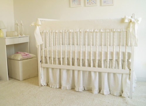 Crib Rail Guard Cover Ivory Linen With Ruffle Bedding Nursery Sets Moods