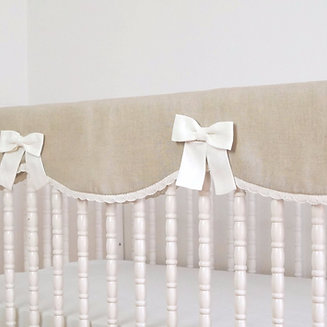crib rail guard natural linen with cotton lace