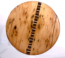 Reclaimed Vintage Pine and Exotic Wood Stool