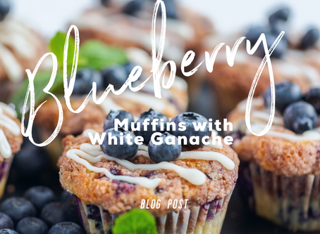Blueberry Muffins with White Ganache