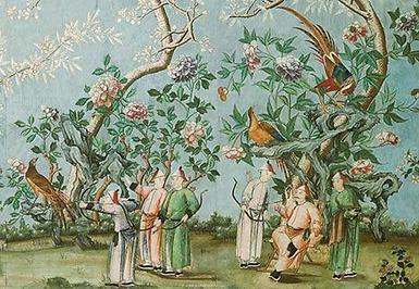 18th-century hand-painted Chinese wallpa