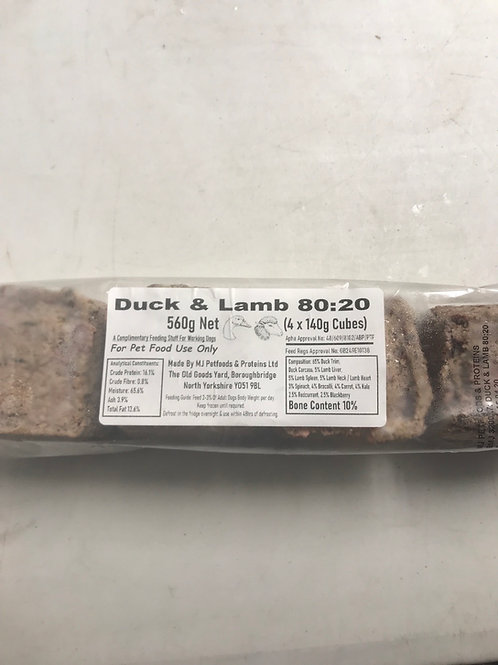 MJ Petfoods Duck and Lamb 80-20 4x 140g cubes