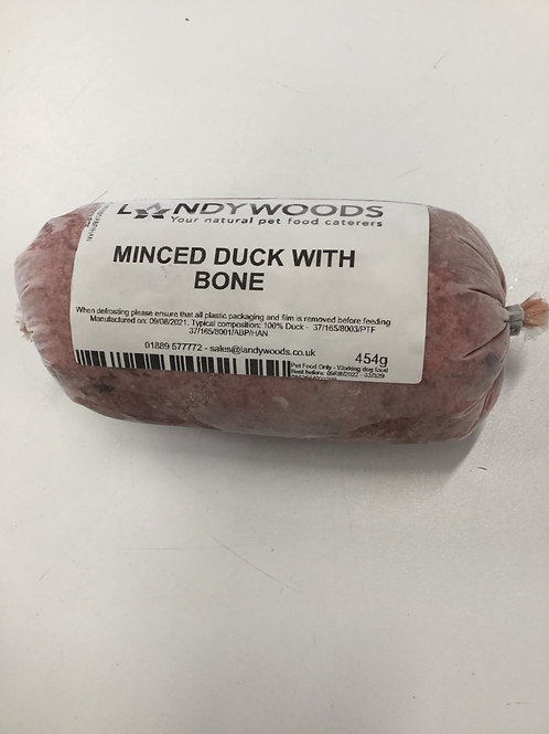 Landywoods minced duck with bone (approx 20% bone) no offal