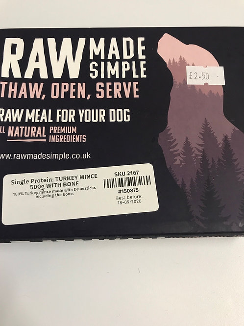 Raw Made Simple single protein Turkey mince with bone 500g