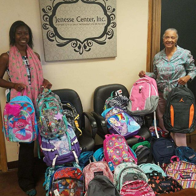 Jenesse Center backpack donation