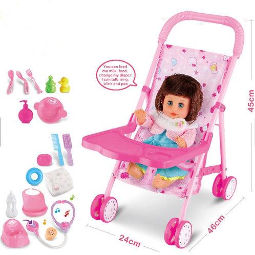 Pink Set Metal Baby Stroller Toy