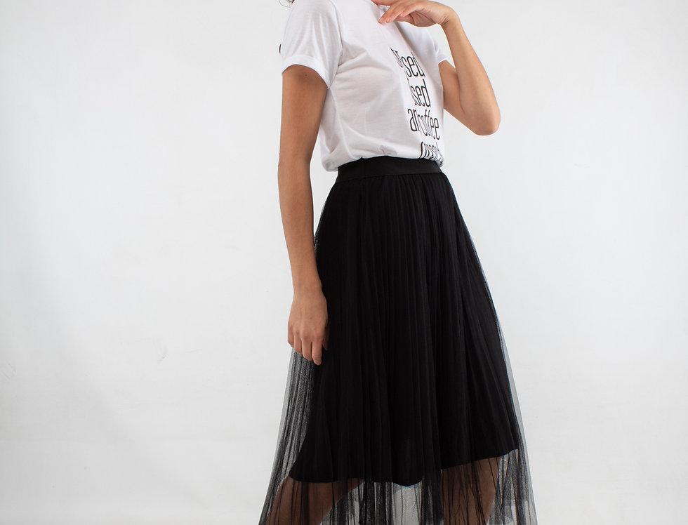 Falda plisada de tul negra