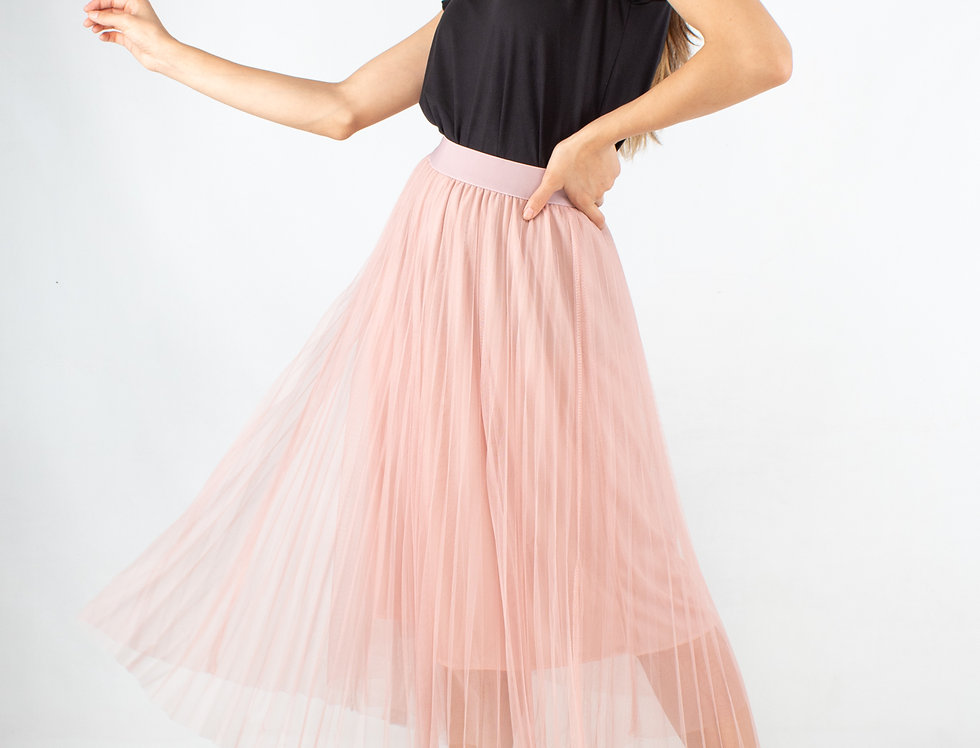 Falda plisada de tul rosa