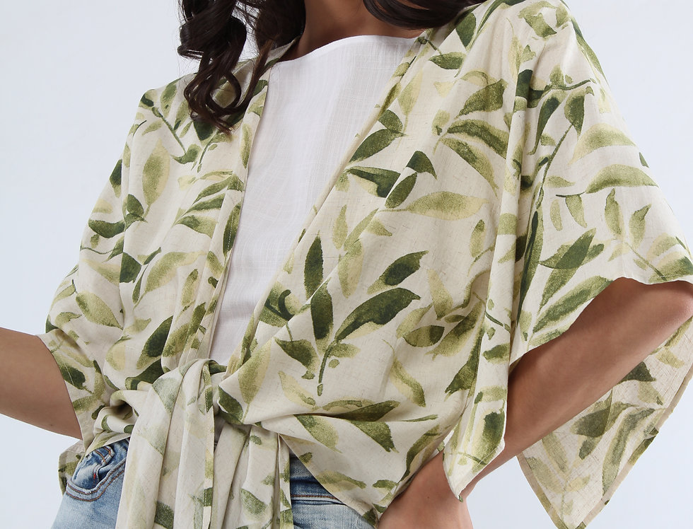 Blusa abierta estampado tropical