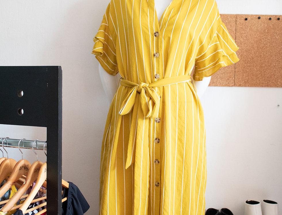 Vestido de rayas fibra natural